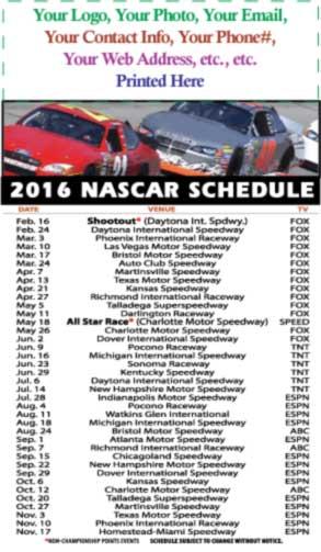 2016 NASCAR SCHEDULE MAGNET